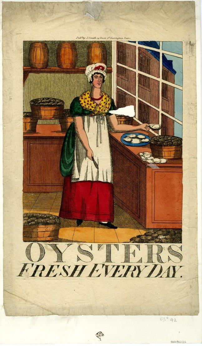 A trade card which reads 'Oysters fresh every day' and features a drawing of a woman holding oysters