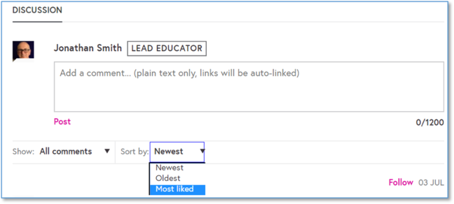 A screen shot of the discussion area with the comment box appearing and a dropdown menu where you can filter the list of sort by to either 'newest', 'oldest' and 'most liked'