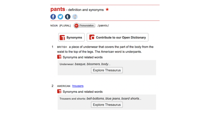 Macmillan Dictionary definition of 'pants'