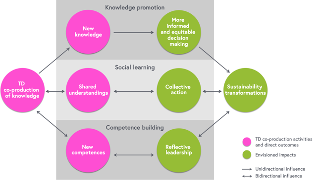 Scheme depicting the generic mechanisms for impact generation, which involves knowledge promotion, social learning, and competence building.