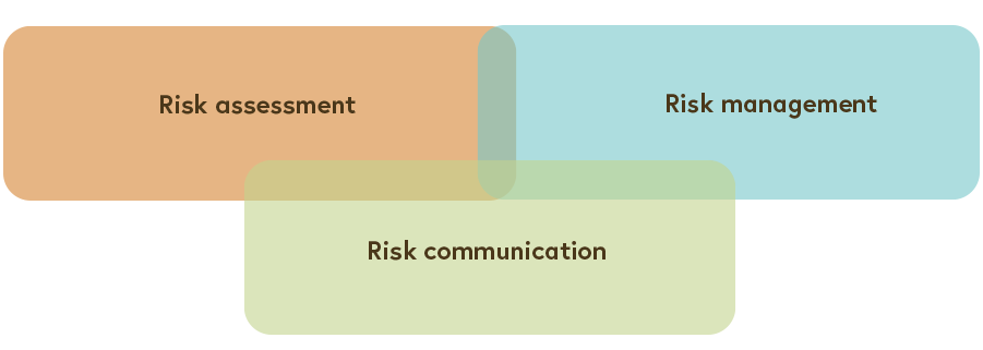 The interconnecting circles of risk assessment, risk management and risk communication are shown.