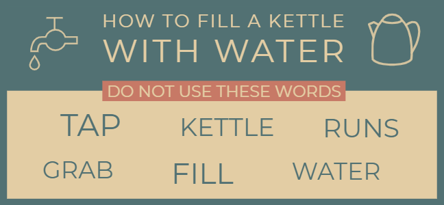 How to fill a kettle with water without using the words tap, kettle, runs, grab, fill and water