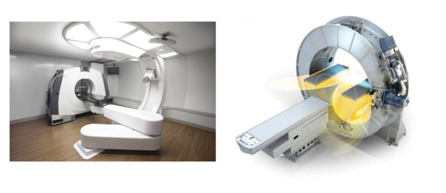 A Mevions 250 Proton Therapy Machine and an MRI LINAC machine
