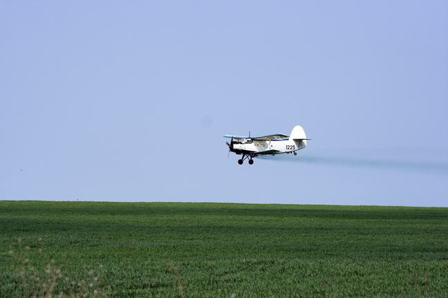 Pesticides can also be sprayed on the fields using a small aero plane