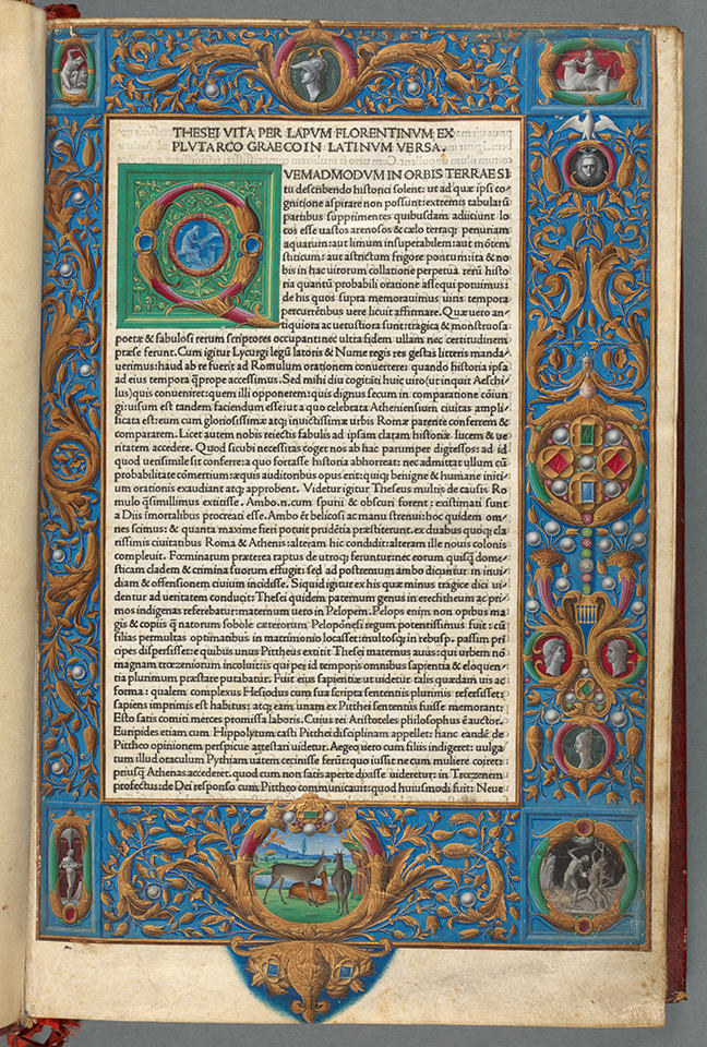 An example of roman type: Plutarch, *Vitae Virorum Illustrium* (Venice, 1478), i, fol. 1r. © The Board of  Trinity College Dublin.