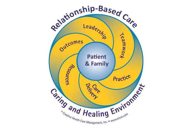A sphere describing the elements of relationship based care. Leadership, outcomes, resources, care delivery, practice, and teamwork.