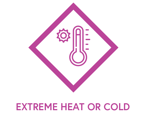 Symbol to show extreme heat or cold