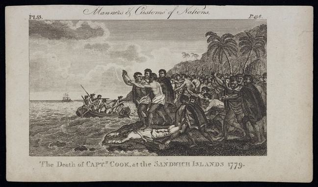 This black and white engraved image is titled Manners and customs of Nations, and below The death of Captn. Cook at the Sandwich Islands 1779