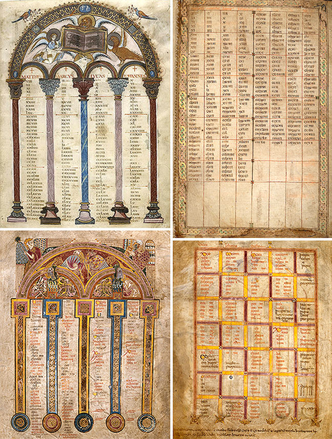 Figures 1-4, from the Book of Kells, arched and grid canon tables