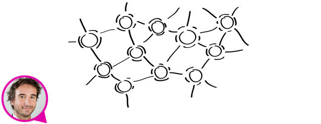 Illustration of dots (representing sensors) connected to each other. Underneath is a photograph of Mischa Dohler in a speech bubble, indicating that the following text are his words.