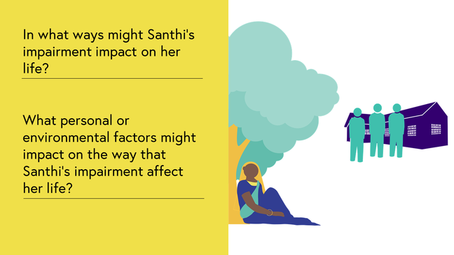 Case Study 1: Image shows Santhi sitting under a tree, isolated from community members and events