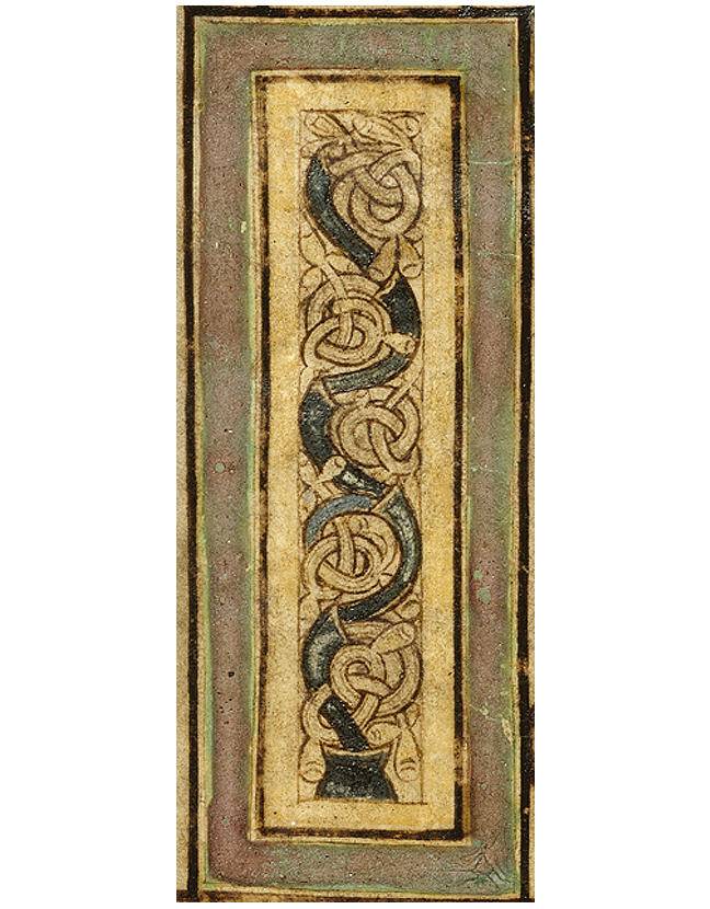 Figure 2, from the Book of Kells, pillar decoration with chalice and vine [fol. 114r](https://digitalcollections.tcd.ie/home/#folder_id=14&pidtopage=MS58&entry_point=229), a pillar decorated