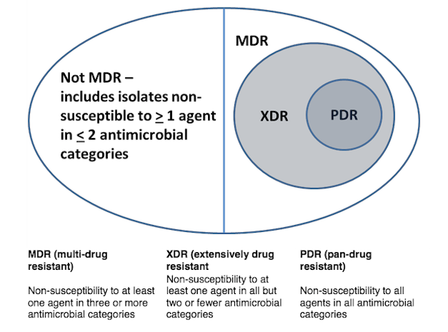 Diagram divided into sections. The left hand-side section represents bacteria that are not multi-drug resistant – includes isolates non-susceptible to more than or equal to one agent in less than or equal to two antimicrobial categories. The right hand-side of the diagram represents multi-drug resistant bacteria.  Within this section is a circle representing extensively drug resistant classes and there is a smaller circle embedded to right of the larger circle representing bacteria that are pan drug resistant.