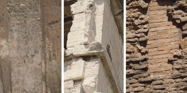 A series of 3 photographs from left to right- a wall showing grey uneven blocks of stone, a stone wall that is smooth and white and a wall that has thin red bricks