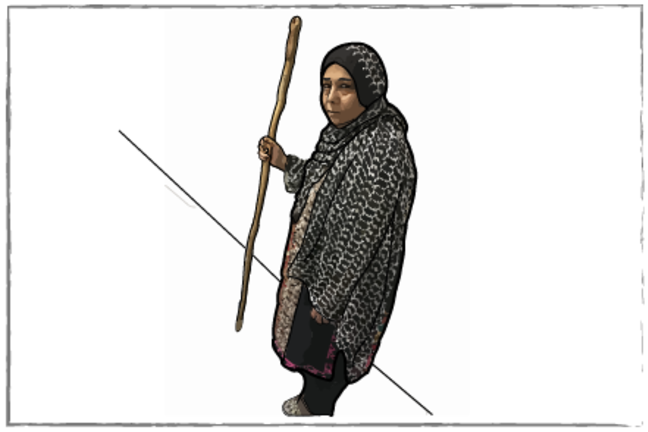 Seema walking with the aid of a stick to increase her physical activity