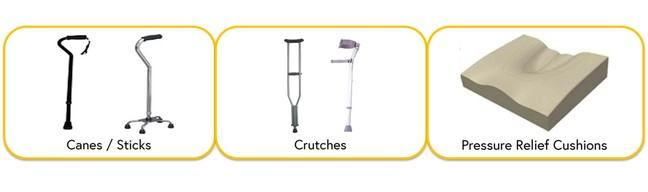 Images of three assistive products with their relevant name underneath image. Images are of canes/sticks, crutches and pressure relief cushions