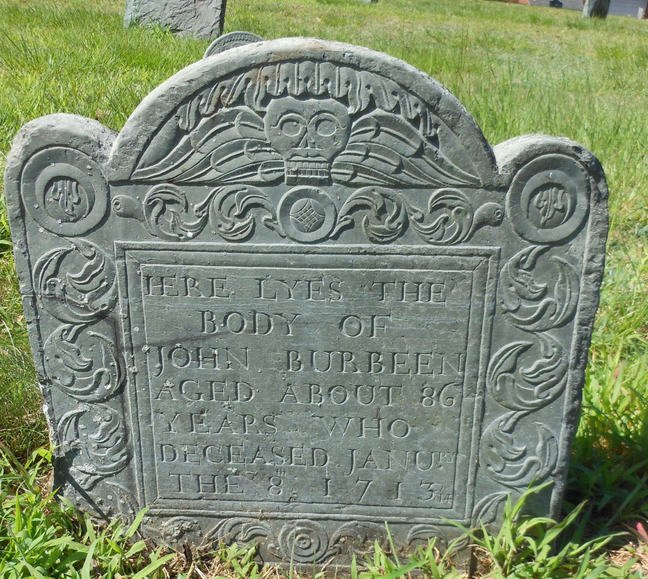 Photograph showing John Burbean's gravestone