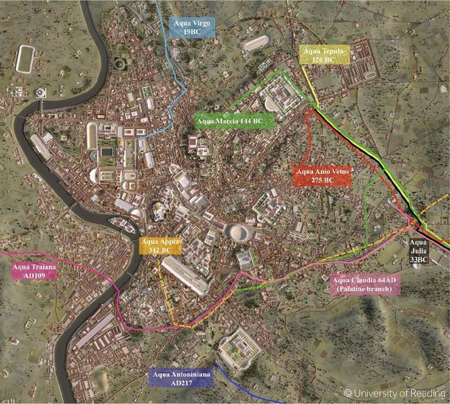 A large aerial map of Ancient Rome with several aqueducts highlighted in different colours