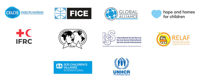 diagramme of the organisations that make up the MOOC Taskforce - in order they are CELCIS, FICE, Global Social Service Workforce Alliance, Hope and Homes for Children, IFRC, IFSW, ISS, RELAF, SOS Children's Villages and UNHCR