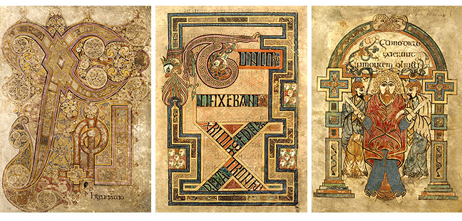 Figures 4-6, from the Book of Kells, two pages showing a large X, and an image of St. John, respectively