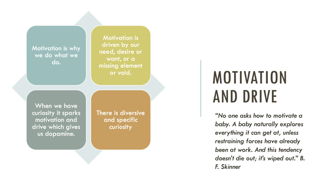 An infographic showing the attributes of motivation and drive