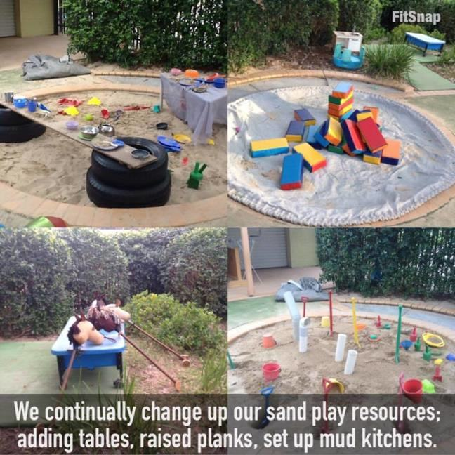 sand pits with raised tables and planks at an early childcare centre