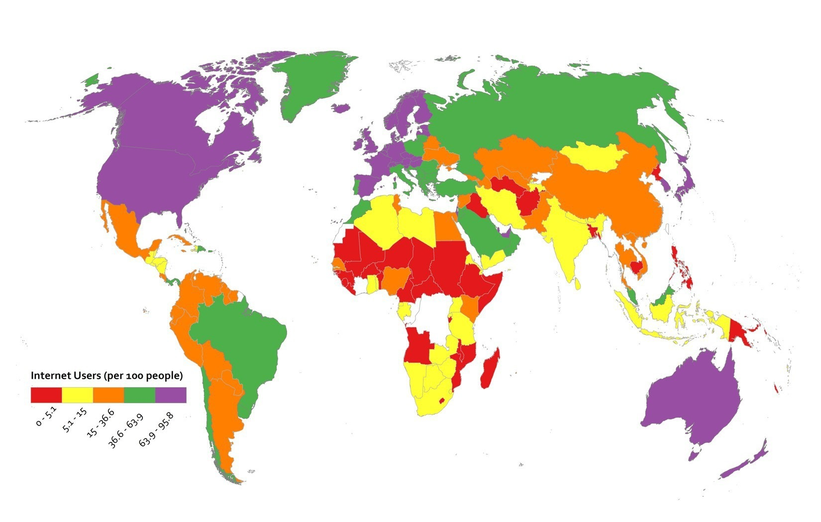 map using categoriacl color scheme: red, yellow, orange, green and purple