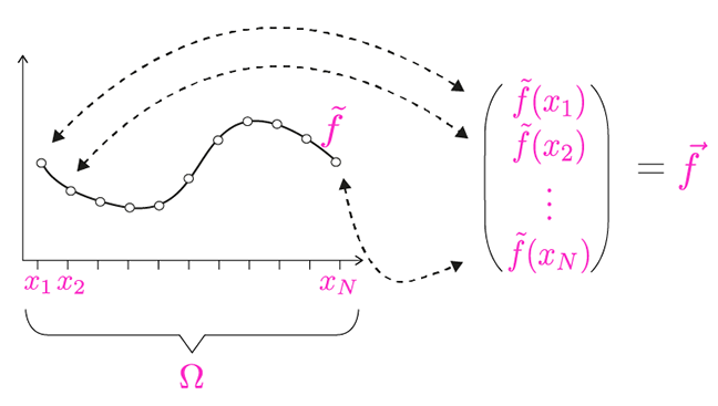 Discrete function and its vector representation.