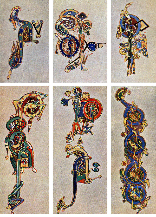 Figure 4 Letters drawn and painted by Helen Campbell d'Olier, as reproduced in Edward O'Sullivan's *The Book of Kells* (1914)