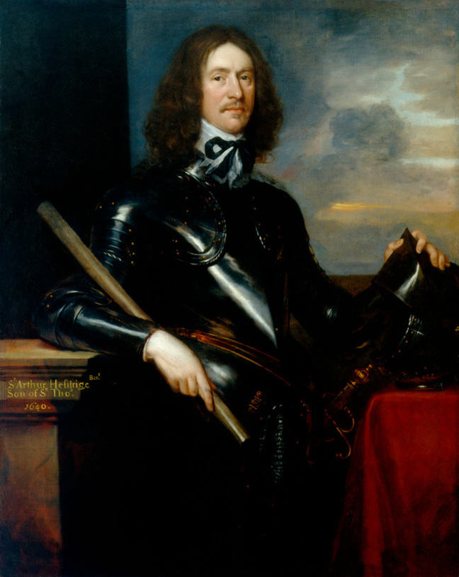 Oil painting showing the portrait of Sir Arthur Haselrigge