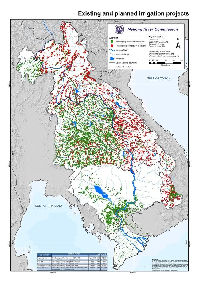 Existing and planned irrigation projects - MRC