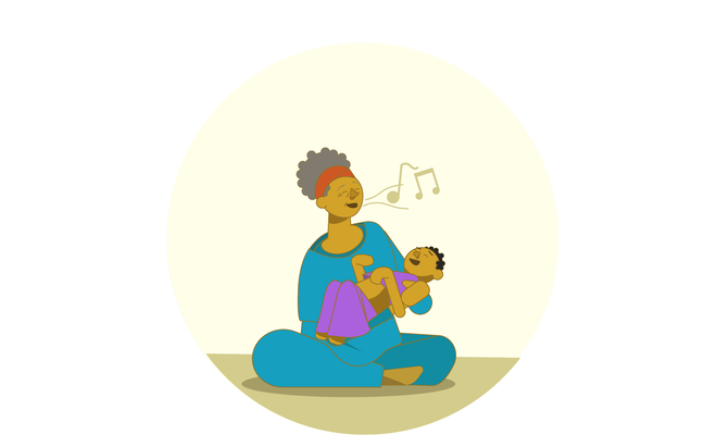 An illustration of a woman holding a girl in her lap and singing to her