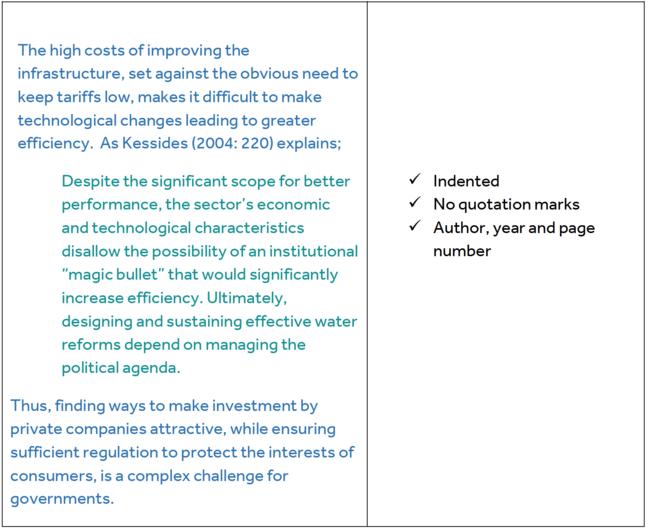 "Column one: The high costs of improving the infrastructure, set against the obvious need to keep tariffs low, makes it difficult to make technological changes leading to greater efficiency.  As  Kessides (2004: 220) explains; (slightly indented for quote)Despite the significant scope for better performance, the sector's economic and technological characteristics disallow the possibility of an institutional ""magic bullet"" that would significantly increase efficiency. Ultimately, designing and sustaining effective water reforms depend on managing the political agenda. (Indent over) Thus, finding ways to make investment by private companies attractive, while ensuring sufficient regulation to protect the interests of consumers, is a complex challenge for governments. Column two: Indented, No quotation marks, Author, year and page number"