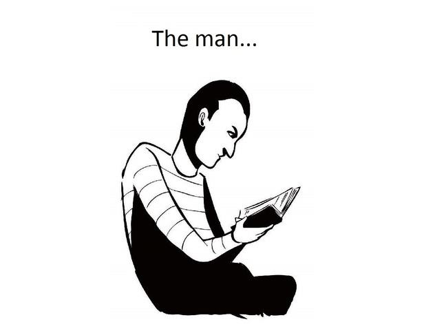 The man reads