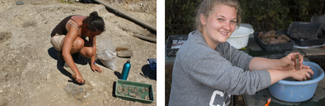 From left to right: A photo of a student on site and a photo of a student washing some finds