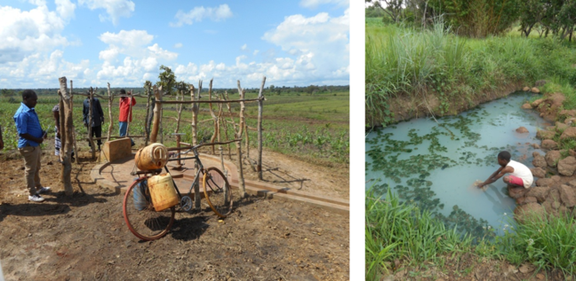Photo of hand pump without water in dry season (left) and traditional water resource used instead (right