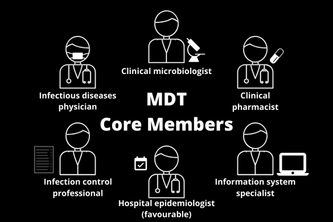 List of core MDT members - clinical microbiologist, clinical pharmacist, information system specialist, hospital epidemiologist, infection control professional, and infectious disease physician