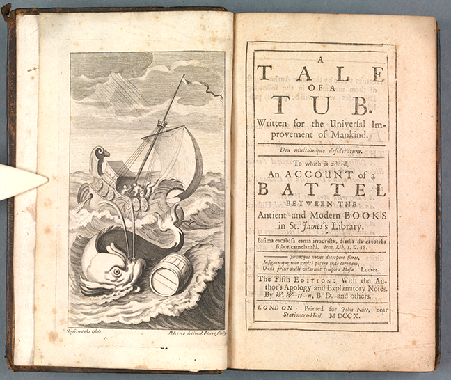 Fig 3. Swift, *A tale of a tub: Written for the universal improvement of mankind ... To which is added, An account of a battel between the antient and modern books in St. James's Library.* (London, 1710) Frontispiece and title page. © The Board of Trinity College Dublin.