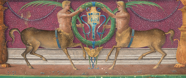Detail of a coat of arms from Plutarch with two centaurs holding a wreath, *Vitae Virorum Illustrium* (Venice, 1478), vol. 2, fol. 1r. © The Board of Trinity College Dublin.