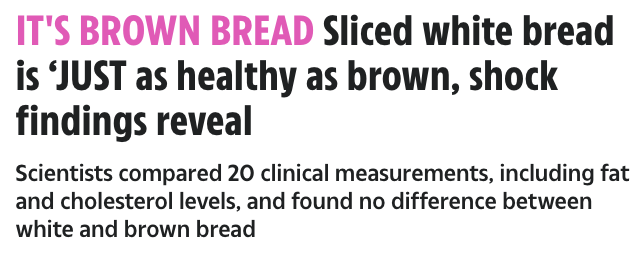It's Brown Bread. Sliced white bread is 'JUST as healthy as brown, shock findings reveal'
