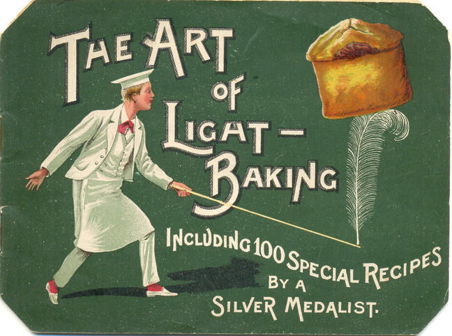 An advertisement featuring a drawing of a baker holding a cake on top of a feather