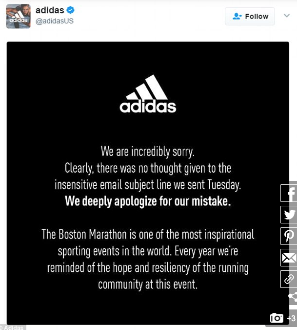 An apology on Twitter by Adidias