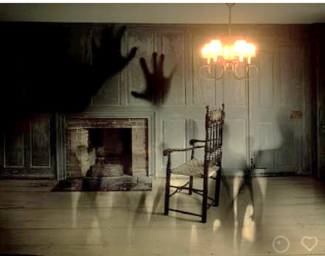 Haunted picture of living room with ghost hand