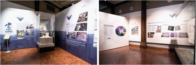 Photographs showing the exhibits at Palace Green Library, summer 2018