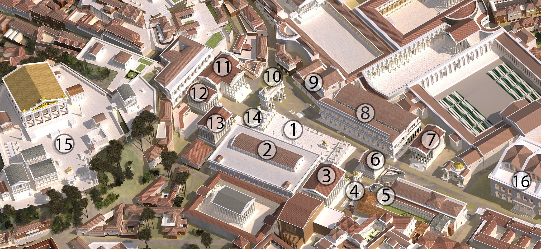 An image of the Forum from the digital model