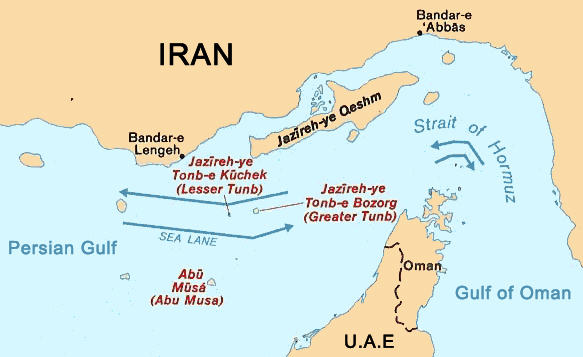 Map: Strait of Hormuz map