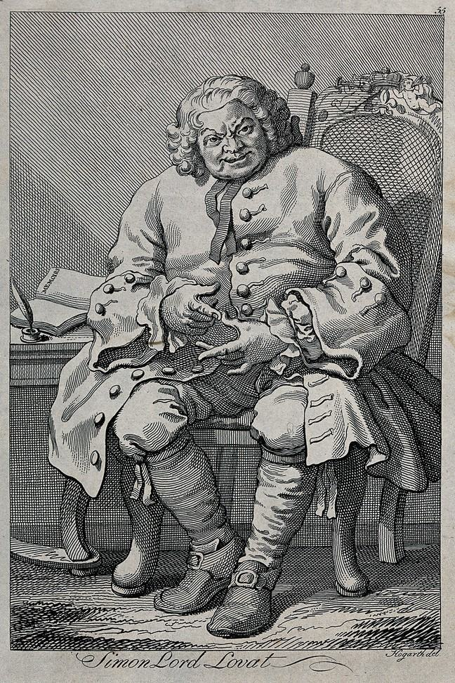 Caricature by William Hogarth of Simon Fraser, Lord Lovat