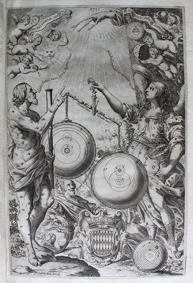 Three cosmic systems illustrated on the frontispiece of volume 1 of Giovanni Battista Riccioli *Almagestum Novum* (Bologna, 1651). © The Trustees of the Edward Worth Library, Dublin.