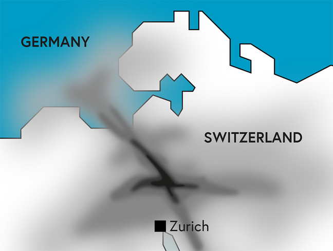 A map that shows the strong traffic of airplanes around Zurich