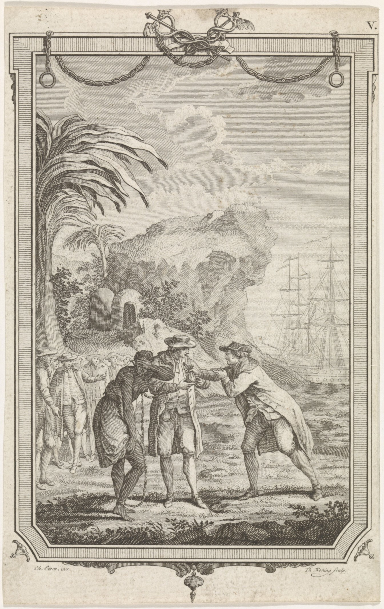 In a rocky landscape with palm trees, a man sells a slave girl to another man. The enslaved black woman is bent over and has put her left hand over her eyes. Masts of sailing ships on the right.